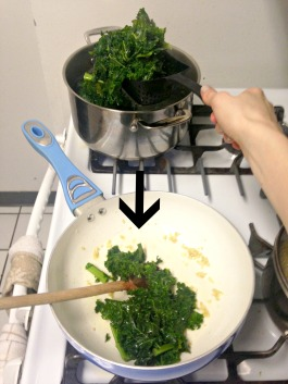 kale into pan